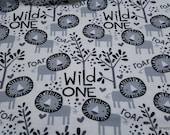 Flannel Fabric - Black and White Lion - By the yard - 100% Cotton Flannel
