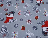 Character Christmas Flannel Fabric - Frosty Tossed Gray - By the Yard - 100% Cotton Flannel