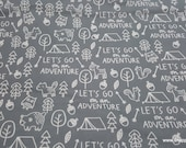 Flannel Fabric - Forest Friends Camping Gray - By the yard - 100% Cotton Flannel
