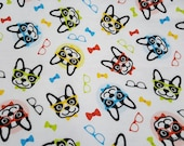 Flannel Fabric - Prep School Pups - By the yard - 100% Cotton Flannel