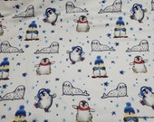 Christmas Flannel Fabric - Seals and Penguins - By the yard - 100% Cotton Flannel