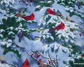 Christmas Flannel Fabric - Realistic Cardinals and Snow - By the yard - 100% Cotton Flannel
