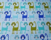 Flannel Fabric - Dancing Cats on Aqua Premium - By the yard - 100% Premium Cotton Flannel