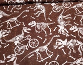 Flannel Fabric - Dino Skeletons Playing - By the yard - 100% Cotton Flannel