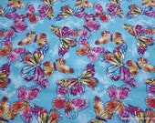 Flannel Fabric - Watercolor Butterfly on Blue - By the yard - 100% Cotton Flannel