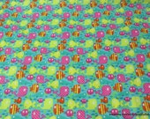 Flannel Fabric - Bright Fish - By the yard - 100% Cotton Flannel