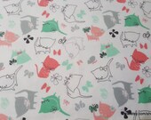Flannel Fabric - Playful Kittens - By the yard  - 100% Cotton Flannel