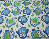 Flannel Fabric - Blue Owls on White - By the yard - 100% Cotton Flannel
