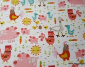 Flannel Fabric - Happy Farm Animals - By the yard - 100% Cotton Flannel