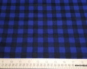 Quilters Flannel Fabric - Buffalo Plaid Navy - By the yard - 100% Cotton Quilters Flannel
