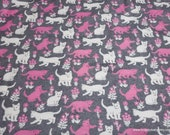 Flannel Fabric - Cats Gray Heather Luxe - By the yard - 70% Rayon, 30 Cotton Luxe Flannel Fabric