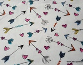 Flannel Fabric - Hearts and Arrows - By the yard - 100% Cotton Flannel