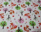 Flannel Fabric - Fox in Woods - By the yard - 100% Cotton Flannel