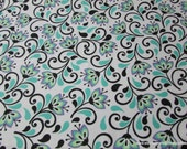 Flannel Fabric - Lily Flowers - By the yard - 100% Cotton Flannel