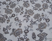 Flannel Fabric - Cream Floral on White - By the yard - 100% Cotton Flannel