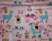 Flannel Fabric - Floral Llamas Pink - By the yard - 100% Cotton Flannel