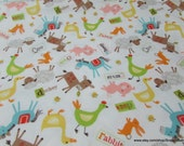Flannel Fabric - Farmer Multi - By the yard - 100% Cotton Flannel