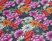Flannel Fabric - Sunset Flowers on Black - By the yard - 100% Cotton Flannel
