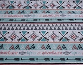 Flannel Fabric - Arrows of Adventure Stripe - By the Yard - 100% Cotton Flannel