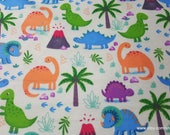 Flannel Fabric - Happy Dinos on Light Green - By the yard - 100% Cotton Flannel