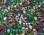 Flannel Fabric - Floral with Skull on Black - By the yard - 100% Cotton Flannel