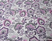Flannel Fabric - Orchid Floral - By the yard - 100% Cotton Flannel