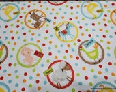 Flannel Fabric - Framed Farm Animal - By the yard - 100% Cotton Flannel