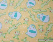 Flannel Fabric - Happy Jungle Tossed Animals Yellow - By the yard - 100% Cotton Flannel