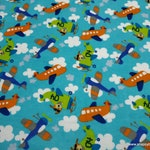 Flannel Fabric - Airplanes Aqua - By the yard - 100% Cotton Flannel
