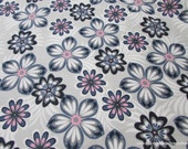 Flannel Fabric - Pink Blue Flowers - By the Yard - 100% Cotton Flannel