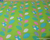 Flannel Fabric - Pink and Turquoise Leaves - By the yard - 100% Cotton Flannel