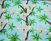 Flannel Fabric - Koala Party - By the yard - 100% Cotton Flannel