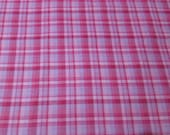Flannel Fabric - Pink with Lavender Plaid - By the yard - 100% Cotton Flannel