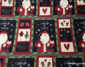 Christmas Flannel Fabric - Country Santa Patchwork - By the yard - 100% Cotton Flannel