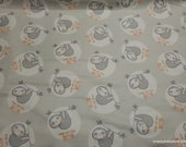 Flannel Fabric - Nap All the Time Sloth - By the Yard - 100% Cotton Flannel