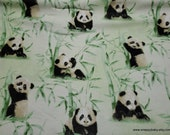 Flannel Fabric - Pandas with Bamboo - By the yard - 100% Cotton Flannel
