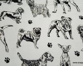 Flannel Fabric - Realistic Black White Sketch Dog - By the yard - 100% Cotton Flannel