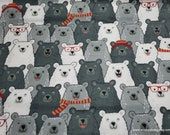 Flannel Fabric - Happy Bear Friends with Red - By the yard - 100% Cotton Flannel