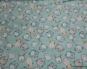 Flannel Fabric - Cuddle Me Animals Faces - By the yard - 100% Cotton Flannel