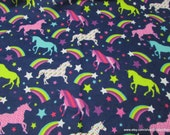 Flannel Fabric - Unicorns and Rainbows - By the yard - 100% Cotton Flannel