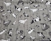 Flannel Fabric - Black White Farm Animals on Gray - By the yard - 100% Cotton Flannel