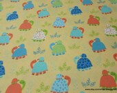 Flannel Fabric - Turtles on Yellow Premium Flannel - By the yard - 100% Cotton Flannel