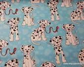 Flannel Fabric - Dalmatians on Blue - By the yard - 100% Cotton Flannel