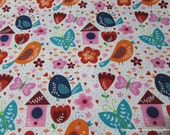 Flannel Fabric - Bird Houses - By the yard - 100% Cotton Flannel