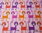 Flannel Fabric - Dancing Cats on Coral Premium - By the yard - 100% Premium Cotton Flannel
