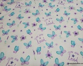 Flannel Fabric - You Are Loved Butterfly - By the yard - 100% Cotton Flannel