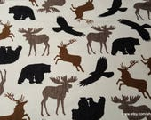 Flannel Fabric - Wilderness Animals Silhouettes on Cream - By the yard - 100% Cotton Flannel