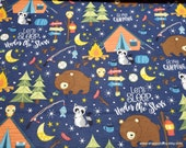 Flannel Fabric - Gone Camping Bear - By the yard - 100% Cotton Flannel