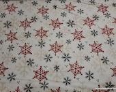 Christmas Premium Flannel Fabric - Gnomies Snowflakes on White Premium - By the yard - 100% Premium Cotton Flannel