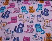 Flannel Fabric - Blushing Kitty - By the yard - 100% Cotton Flannel